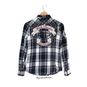 Harley Davidson Plaid Flannel with Patches
